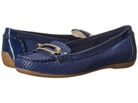 Anne Klein Noris Dark Blue Dark Blue Leather Women's Flat Shoes Navy