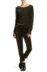 Pam And Gela Lace Up Velvet Sweatpant Green