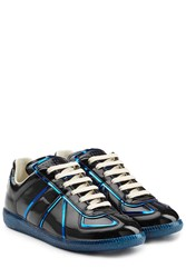 Maison Martin Margiela Patent Leather Sneakers With Metallic Trims Black