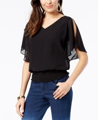 Thalia Sodi Smocked Strappy Top Created For Macy's Black