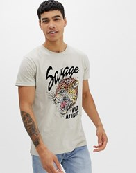 Solid Tiger Print T Shirt In Grey