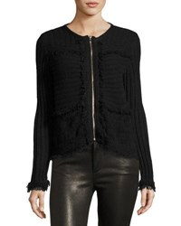 Love Scarlett Fringe Trim Zip Front Cardigan Black