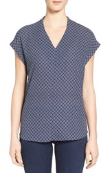 Pleione Women's High Low V Neck Mixed Media Top Navy Ecru