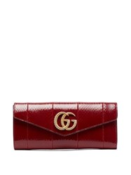 Gucci Broadway Gg Plaque Elaphe Clutch Bag Burgundy