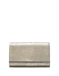 Vince Camuto Phurn Snake Print Leather Clutch Gunmetal