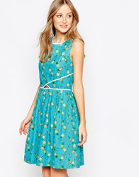 Trollied Dolly Catch A Glimpse Dress Turquoisepineapple Blue