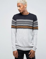 Pull And Bear Pullandbear Fair Isle Jumper In Grey Navy Grey