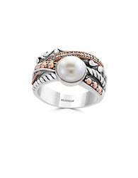 Effy 8Mm White Round Freshwater Pearl Diamond 18K Rose Gold And Sterling Silver Ring