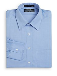 Saks Fifth Avenue Classic Fit Woven Cotton Dress Shirt Blue
