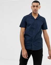 Solid Slim Fit Shirt Revere Collar Navy Blue