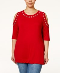 Belldini Plus Size Grommet Trim Cold Shoulder Top Red
