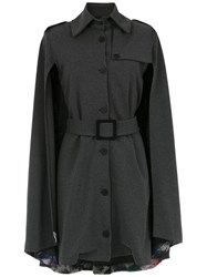 Tufi Duek Cape Belted Dress Grey