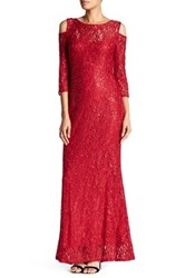 Marina Sequin Lace Gown Red
