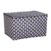 Handed By Toulon Rectangular Basket With Flaptop Pale Grey Navy