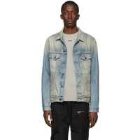 Off White Blue Denim Airport Tape Jacket
