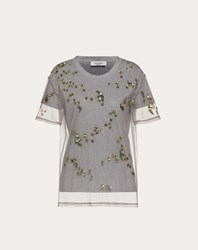 Valentino Embroidered Jersey And Tulle T Shirt Grey 100 Cotone