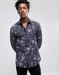 Noose And Monkey Skinny Shirt In All Over Floral Print Navy