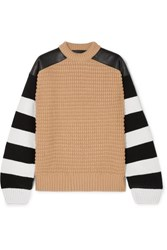 Haider Ackermann Leather Paneled Striped Fleece Wool And Cashmere Blend Sweater Camel