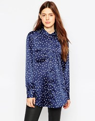 Brave Soul Starry Long Sleeve Shirt Navycream