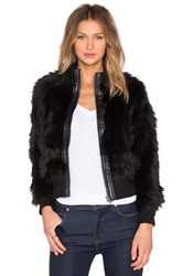 7 For All Mankind Luxe Faux Fur Jacket Black
