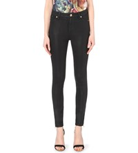 Ted Baker Skinny Fit High Rise Coated Jeans Black