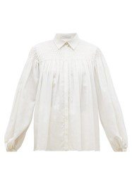 Gabriela Hearst Carmen Shirred Panel Gauze Blouse Ivory