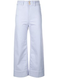 Apiece Apart Cropped Straight Cut Trousers Blue