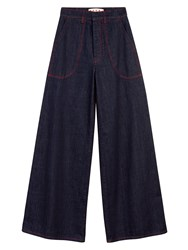 Marni Wide Leg Jeans With Red Stitching Blue
