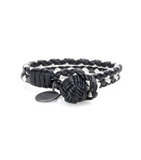 Bottega Veneta Knot Intrecciato Leather Bracelet Black
