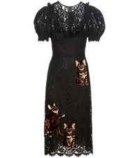 Dolce And Gabbana Lace Dress With Applique Black