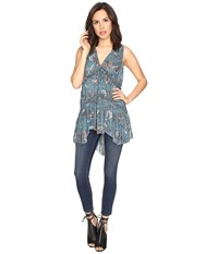 Free People Purple Haze Printed Tunic Turquoise Women's Clothing Blue