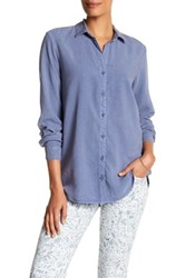 Andrea Jovine Long Sleeve Side Button Shirt Blue