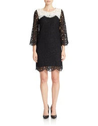 Essentiel Lace Colorblock Shift Dress Black White