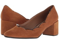 French Sole Couplet Heel Cognac Suede Shoes Brown