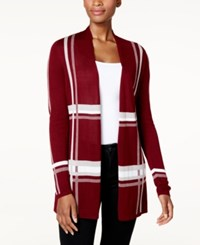Charter Club Lightweight Open Front Cardigan Created For Macy's Cranberry Red Combo