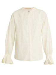 Bliss And Mischief Ruffled Cuff Poplin Blouse Ivory
