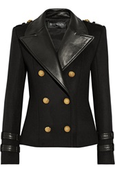 Balmain Leather Trimmed Wool And Cashmere Blend Jacket