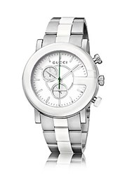 Gucci G Chrono Collection Ceramic And Stainless Steel Watch Silver White