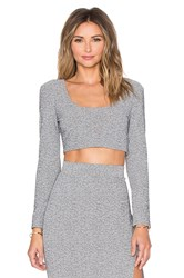 Lanston Scoop Neck Crop Top Gray