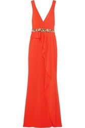 Marchesa Notte Ruffled Embellished Crepe Gown Tomato Red