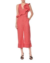 Msgm Sleeveless Striped Ruffle Jumpsuit Red Pattern