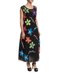 Marc Jacobs Neon Flower Embroidered Guipure Dress Black