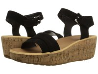 Rockport Weekend Casuals Lanea Fringe Quarter Strap Black Suede Women's Wedge Shoes