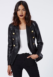 Missguided Bettie Faux Leather Blazer Black