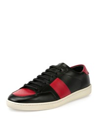 Saint Laurent Sl 10H Leather Low Top Sneaker Black Red Black Rosa