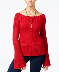 American Rag Off The Shoulder Bell Sleeve Sweater Only At Macy's Chilli Pepper