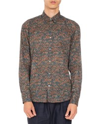Dries Van Noten Corbin Mille Fleur Printed Sport Shirt Dark Green