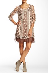Ryu Crochet Mesh Long Sleeve Dress Brown