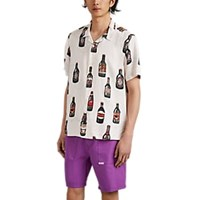 Ovadia And Sons Beer Print Camp Collar Shirt White