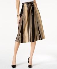 Ny Collection Belted Striped Skirt Tan Black